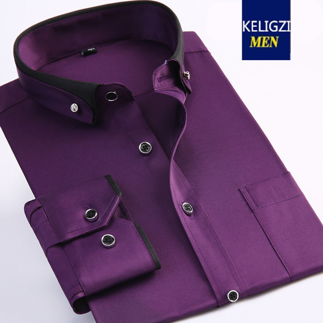 8175ece1c67 new arrival Spring male solid color purple dress shirt extra large men  fashion casual high qualtiy