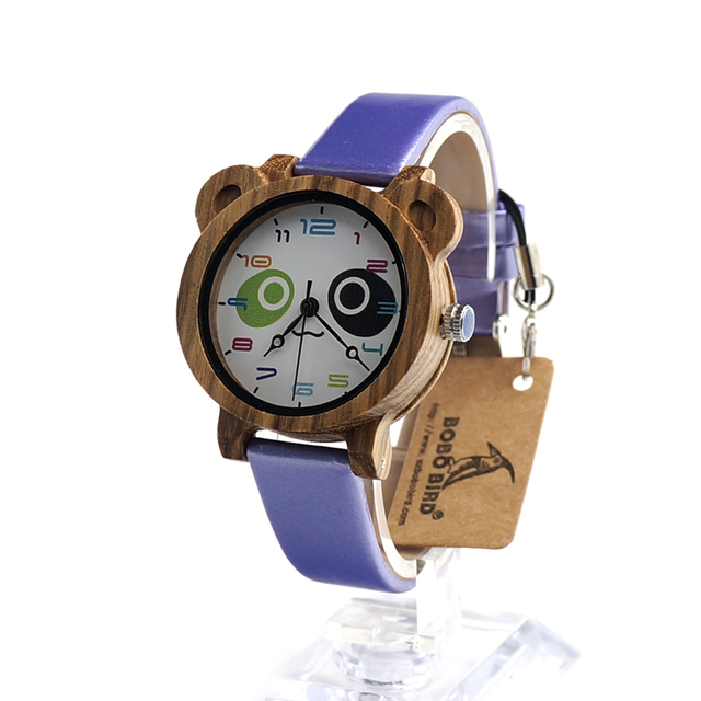 BOBO BIRD I15 Kids Wooden Wristwatch Lovely Cartoon Student Quartz Watch with Colorful PU Strap  montre enfant