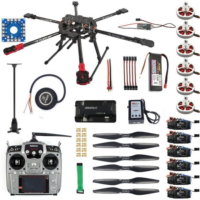 Kit Completo Hexacopter Gps Drone Aereo Kit Tarocchi FY690S Telaio 750KV Motore Gps Apm 2.8 di Controllo di Volo AT10II Trasmettitore F07803 A