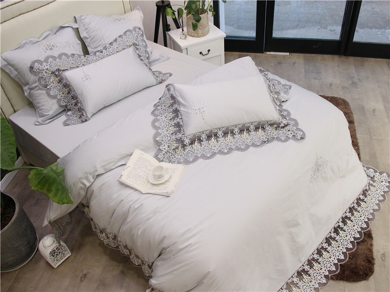 Luxury White Pink 100S Egyptian Cotton Romantic Lace Embroidery Palace Bedding Set Duvet Cover Bed sheet Bed Linen pillowcases in Bedding Sets from Home Garden