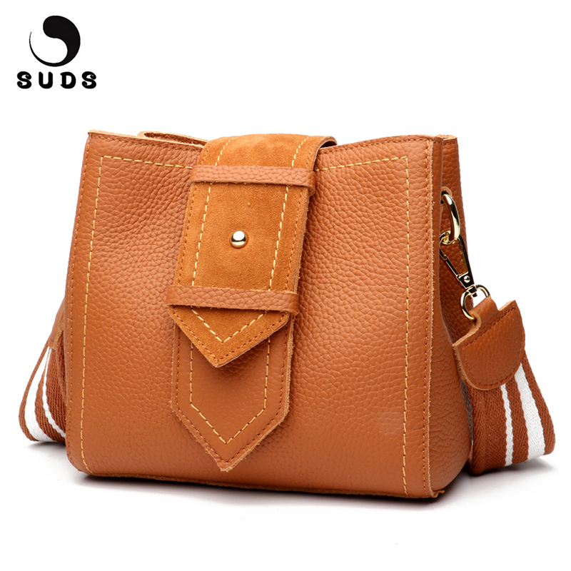 SUDS Brand Genuine Leather Women Messenger Bag 2018 Fashion Women Large Capacity Shoulder Bucket Bags Cow Leather Crossbody Bags suds brand women casual 100