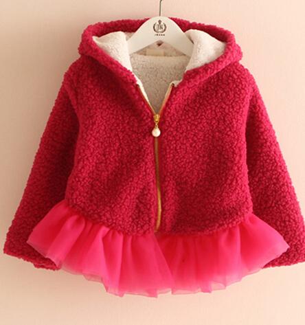 2016 outono inverno das crianças roupas meninas brasão moda sólidos mangas compridas engrosse com capuz cashmere bebê menina jaquetas para crianças