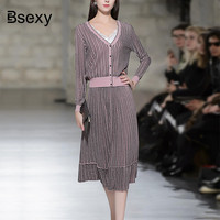 2018 Fashion Women Two pieces Sweater Cardigan Skirt sets Office Ladies Elegant striped Knitted top Pleated Long Skirt Suit Set
