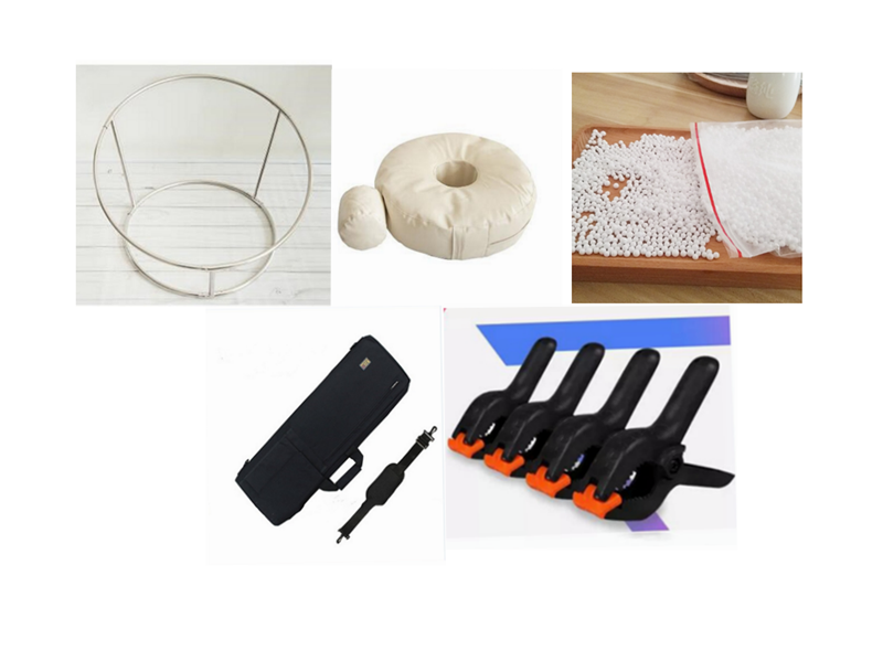 Baby Photo Shoot Accessories Bean Bag(filling)bPofiller Lystyrene Foam Beads+Round Shelf +6clips+bag  Newborn Photography Props