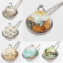 World Map Double-Sided Pendant Necklace Glass art Photo Manual Declaration Earth Jewelry Men And Women