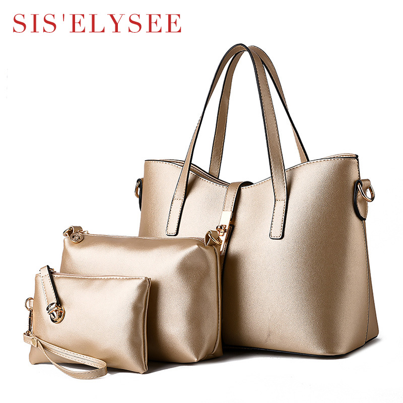 ФОТО Hot Sale Women Famous Brands Soft Pu Leather Casual Tote Bag Women Shoulder Bags New Arrival Women Big Bags 3 Bags/Set With Lock