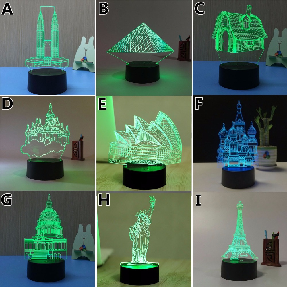 7 Color Eiffel <font><b>Tower</b></font> 3D Visual Led Night Lights for Kids Touch USB Table Lampara Lampe Baby Sleeping Nightlight