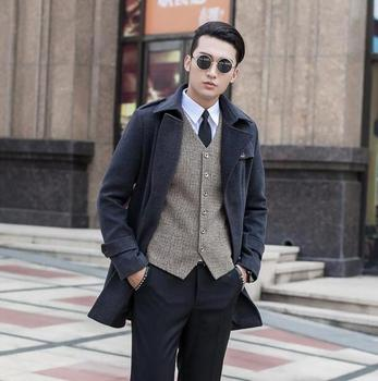 Wine red  new arrival wool coat men jackets and coats mens slim winter trench coats teenager outerwear fashion plus size S – 9XL