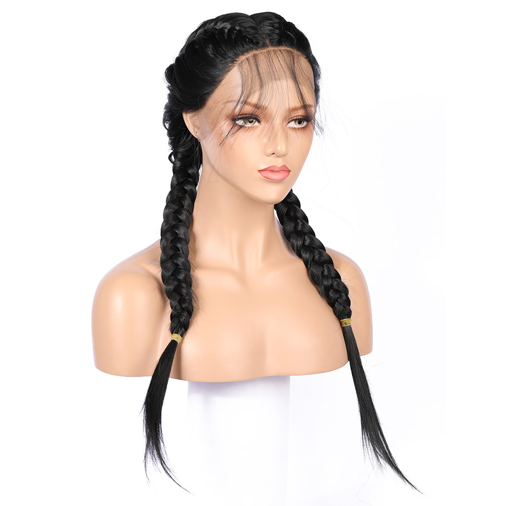 New Synthetic Baby Hair Braided Lace Front Wig Straight Long Black Women Hair Wigs 0730