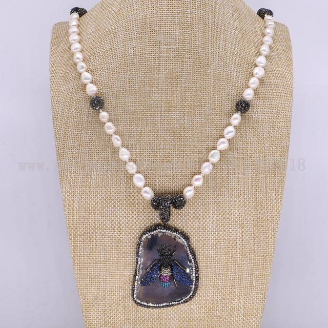 3 pieces natural onyx pendants necklace pearl necklace with 3 pieces natural onyx pendants necklace pearl necklace with bumblebee beads with bees free form aloadofball Image collections