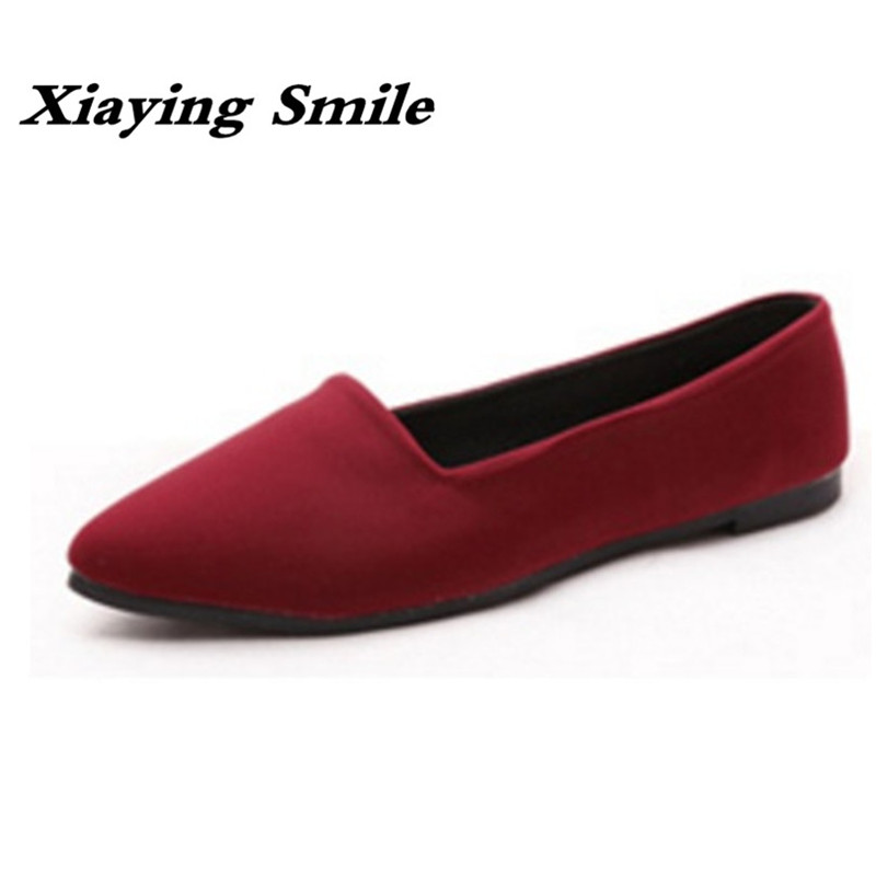 Xiaying Smile Flats Shoes Women Boat Shoes Spring Summer Office Casual Loafers Slip On Pointed Toe Shallow Rubber Women Shoes odetina 2017 new women pointed metal toe loafers women ballerina flats black ladies slip on flats plus size spring casual shoes