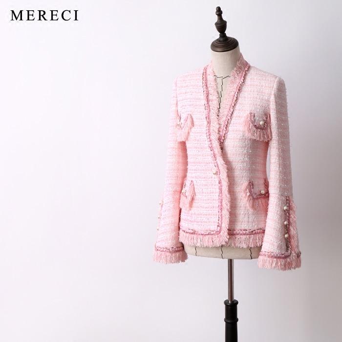 Новое поступление Женская мода Элегантный тяжелых твидовый пиджак v образным вырезом цепи лоскутное кисточкой Карманы офис леди ПР формаль