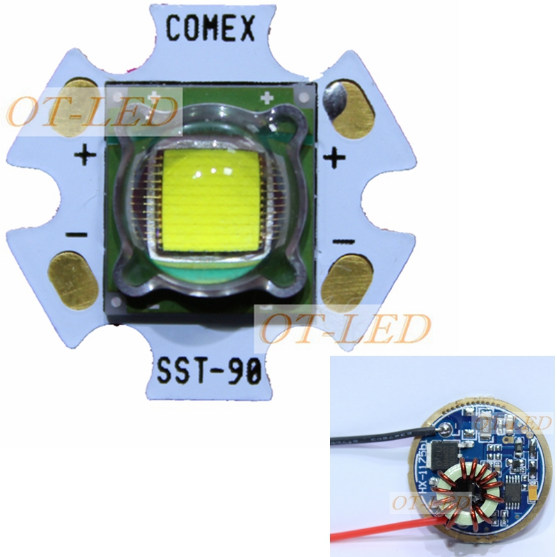 все цены на 1PCS Luminus SST-90 SBT-90 SBT 90 30W LED Emitter 2250LM White 6500K Module PCB 20mm Copper +SST-90 LED Driver Board онлайн