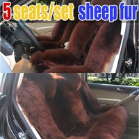 Winter New Arrival Fashion Sheep Fur Car Seat Cover Cushion 5 Seats Covers For 1 Set