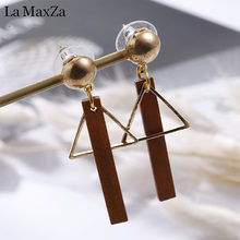 Natural Wood Drop Earrings for Women Fashion Statement Golden Geometry Strips Dangle Earring Ear Korean Girls Jewelry Gift(China)