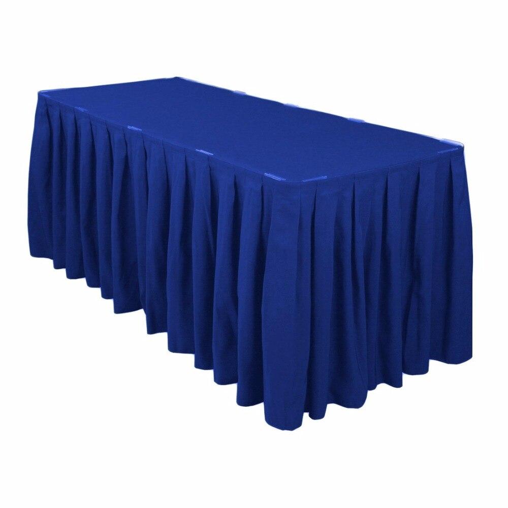 HK DHL 17 ft. (520cm circumference, 78cm height) Pleat Polyester Rectangular Table Skirt, 5/Pack