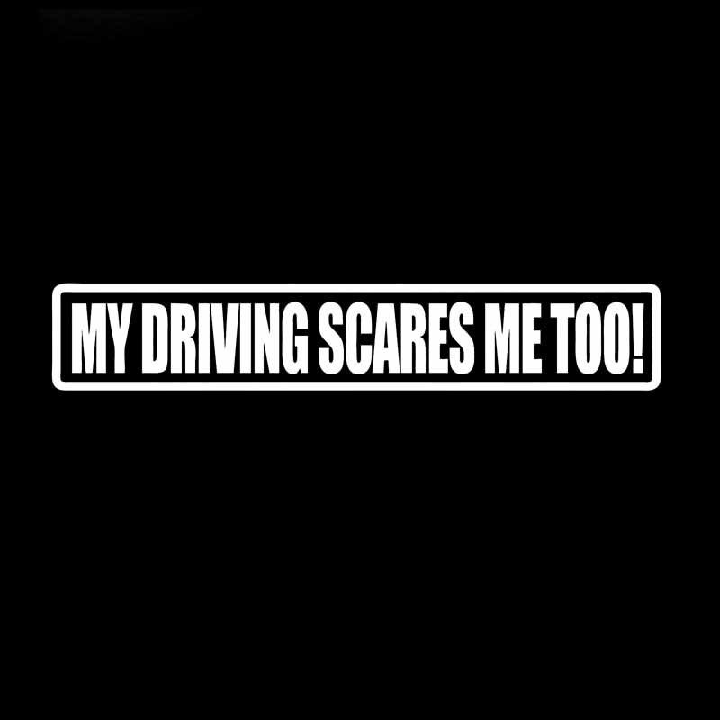 YJZT 16.9CM*3CM MY DRIVING SCARES ME TOO Car Sticker Vinyl Decal Black/Silver C10-01814