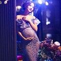 Sessão de fotos da gravidez beach dress chiffon branco maternidade longo dress grávida fotografia adereços roupas extravagantes