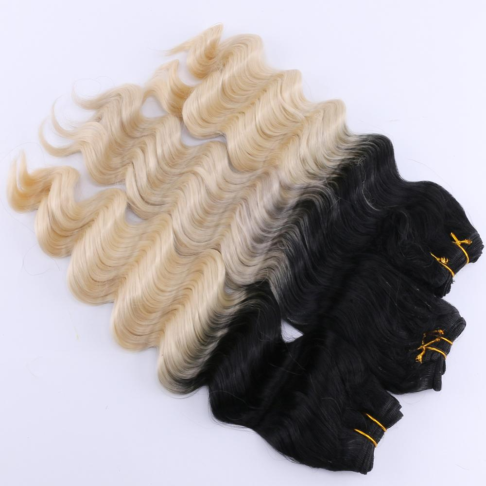 3 pieces one lot T1B/613 deep wave bundles High temperature synthetic hair weave extension for women(China)