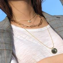 Fashion Necklace Multi Layers Chain Coin Statement Women Necklaces & Pendants Gold Color Colar Jewelry multi color fashion bk jewelry red rope magnetic 5 layers strands choker statement necklace