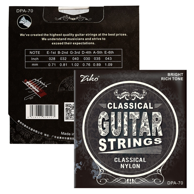 Ziko Dpa-70 Classical Guitar Strings Nylon Core Silver Plated Copper Wound High Tension 5
