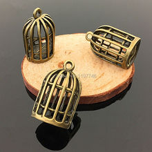 15x24mm 20 Pieces Zinc Alloy Antique Bronze Tone 3D Bird Cage Pendant Jewelry Charms Diy Pendants For Necklace Bracelets movable skeleton shaped zinc alloy pendant necklace bronze