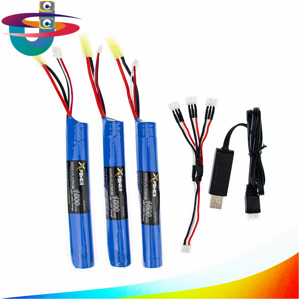 Gun battery 3pcs and charger with cable 7.4V 1500MAH 15C AKKU Mini Airsoft toys Gun Battery model parts 18650 Tamiya 3pcs battery and european regulation charger with 1 cable 3 line for mjx b3 helicopter 7 4v 1800mah 25c aircraft parts