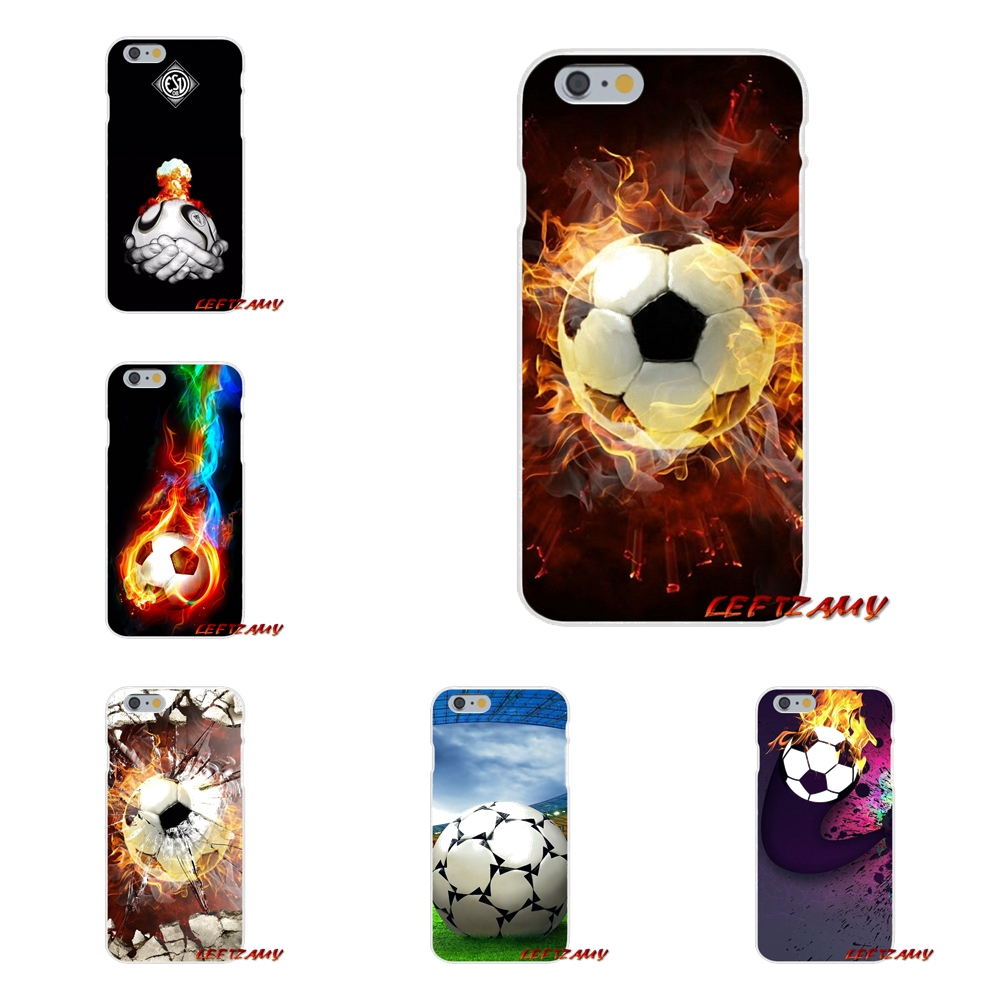 Accessories Phone Shell Covers Fire Football Soccer Ball For iPhone X 4 4S 5 5S 5C SE 6 6S 7 8 Plus