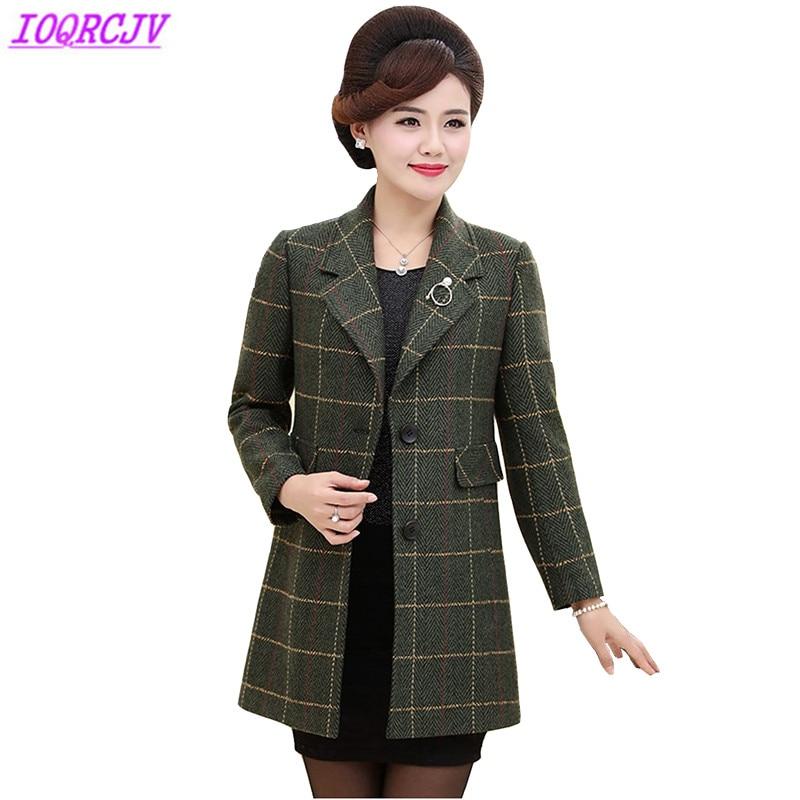 2018 Spring Autumn Women Woolen Coat Fashion Middle aged Female Plaid Outerwear Plus size Loose Woolen cloth Coats IOQRCJV H156