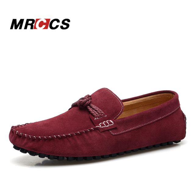 Vintage Knot Mens Loafers Suede Leather Moccasins Casual Red Boat Shoes