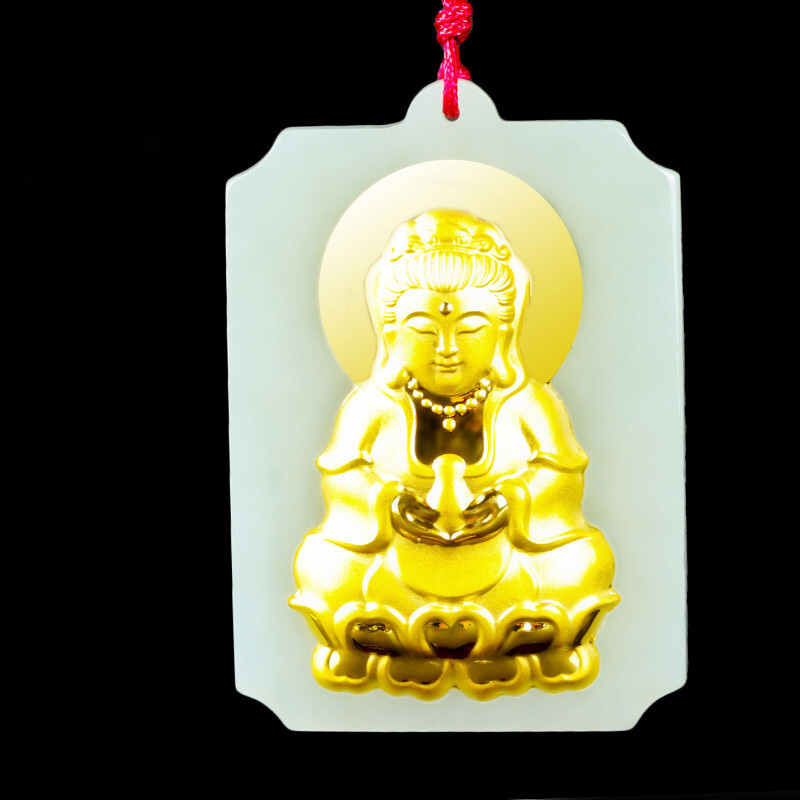 Hetian jade Guanyin jade pendant Top Quality Men Lucky Amulet necklace chinese jade fine jewelry Gold jade pendant gift