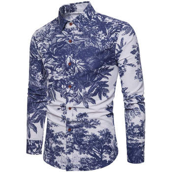 Casual Men Europe Style Floral Shirts