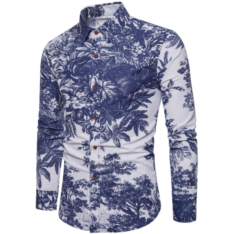 2019 New Fashion Casual Men Shirt Long Sleeve Europe Style Slim Fit Shirt Men High Quality Cotton Floral Shirts Mens Clothes 17