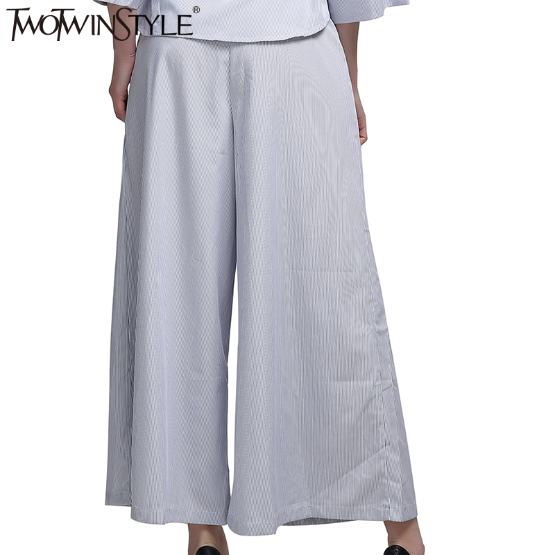 TWOTWINSTYLE Striped High Waist Wide Leg Pants Casual Kimono Women - Women's Clothing - Photo 2