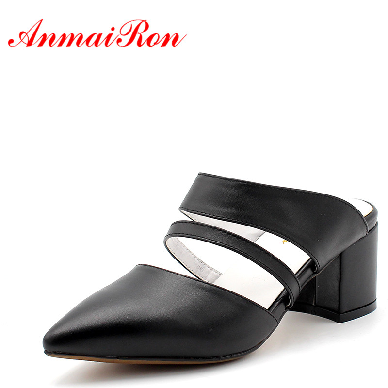 ANMAIRON Sexy Red Black Pointed Toe Mules Shoes Women Slingback Pumps Med Heels Shoes Woman Summer Slippers Sandals Women Pumps shofoo newest women shoes med heels pointed toe pumps for woman dress