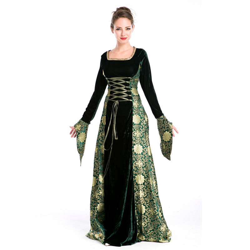 Deluxe <font><b>Halloween</b></font> Party Dresses Long Sleeves <font><b>Sexy</b></font> Fancy <font><b>Queen</b></font> Costume Dress M4724 image