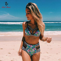 Ariel Sarah Brand 2017 Push Up Bikini High Waist Swimsuit Swimwear Women Sexy Bikinis Set Floral