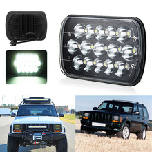 7x6 Inch 15 LED Light Bulbs Crystal Clear Sealed HI/LO Beam Lamp Headlight 45W H4 Plug For Jeep/Wrangler YJ Cherokee XJ 7x6 led headlight sealed dual beam headlamp replacement hid xenon h6014 h6052 h6054 for jeep wrangler jk yj cj xj