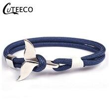 CUTEECO Fish Shark Tail Charms Bracelet For Men Women Nylon Rope Chain Paracord Bracelet Male Wrist Bands Anchor Bracelet chic shark teeth shape embellished bracelet for women