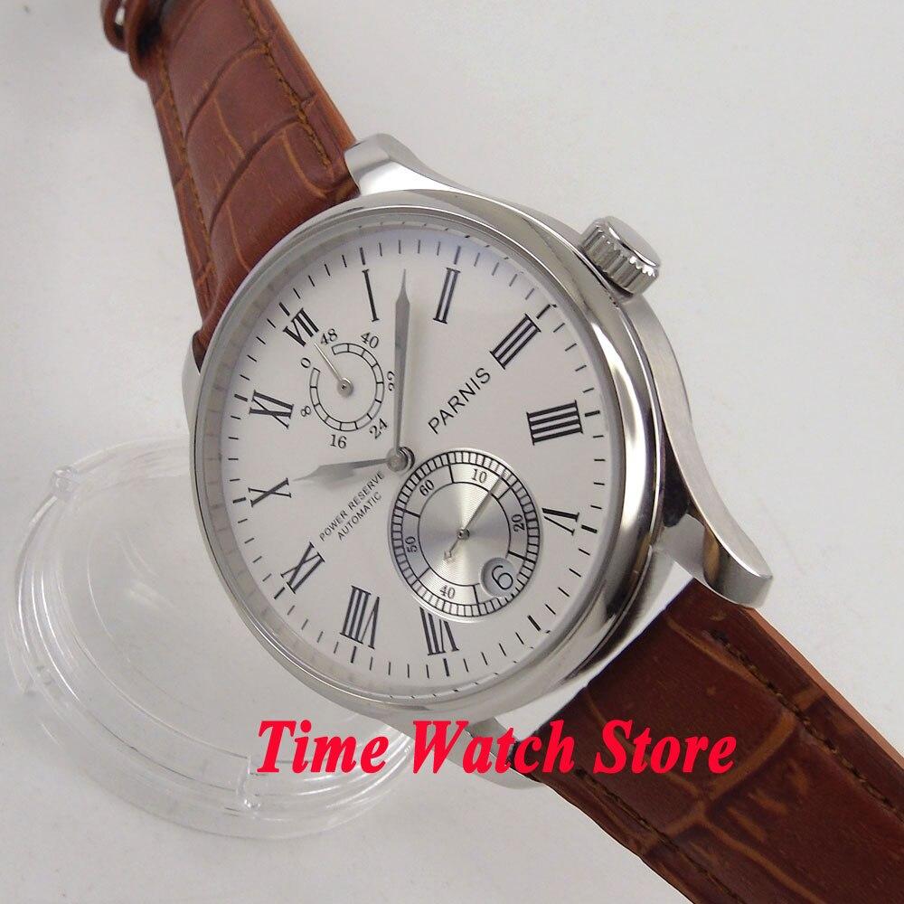 Parnis 43mm white dial silver hands Roman Numerals date Power reserve Automatic movement Men's watch men 199