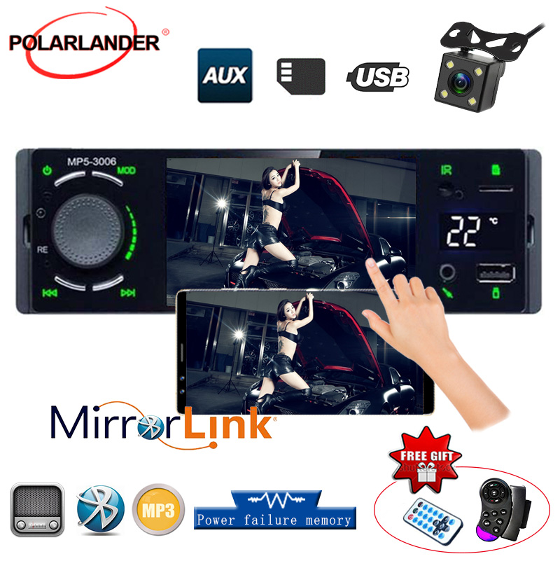 Mirrorlink Car Multimedia MP5 Player Autoradio 1 Din Bluetooth Touch Screen USB TF Temperature Display Music U-Disk USB Connect image