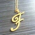 Мода Нержавеющей Стали Первоначального Ожерелье Позолоченный Пользовательские Имя Ожерелье Персонализированные Ювелирные Изделия Choker Ожерелье Письмо Кулон