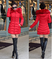 Free shipping 2015 New women Solid Slim Thermal Black Dark green Red Light Grey Down 4 Color Girl Parkas with Fur Collar Hat