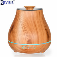 FEA 400ml Essential Oil Diffuser Wood Grain With Chroming Top Ultrasonic Aroma Cool Mist Humidifier For