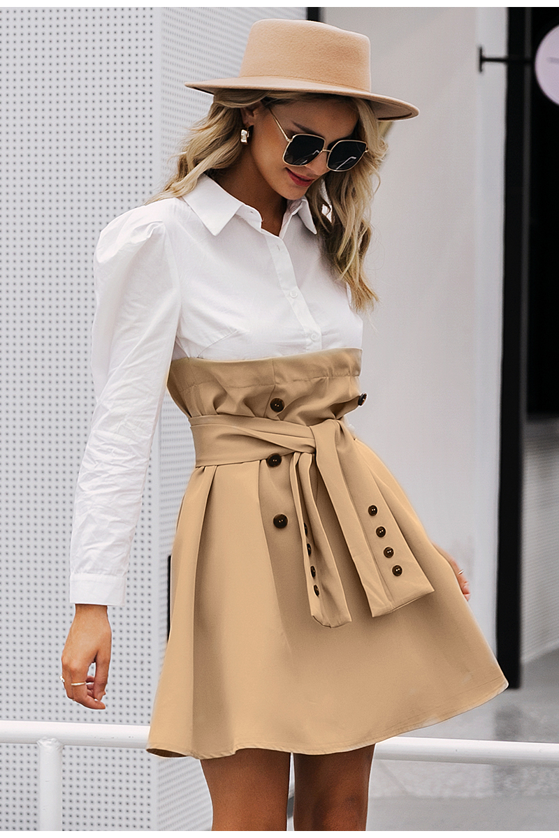 Simplee Patchwork puff sleeve shirt dress women Elegant button sash belt office ladies dresses Autumn ladies khaki work dress 6