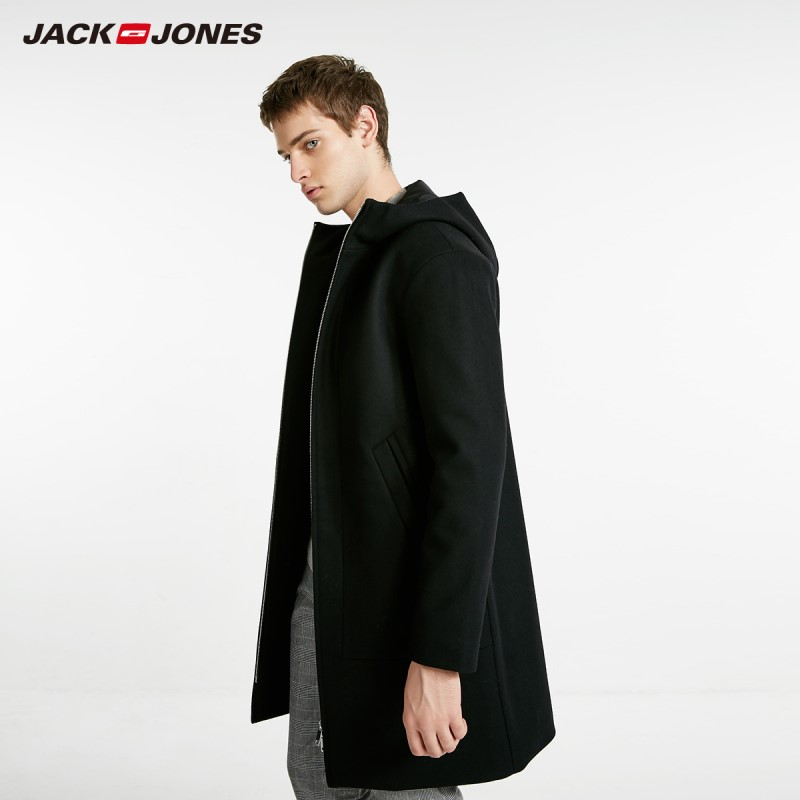 JackJones Men's Autumn Hooded Stand-up Collar Wool Long Coat Long Jacket Menswear 218427511