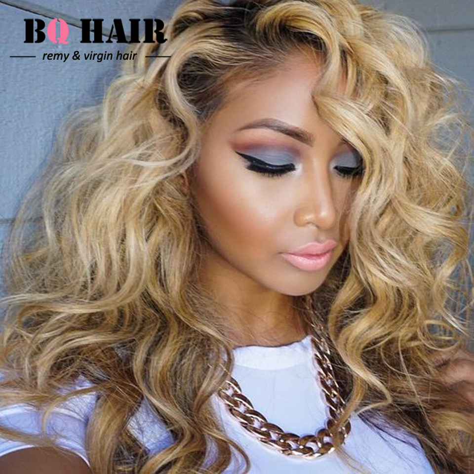BQ 8A Body Wave Brazilian Hair 360 Frontal Brazilian virgin hair Body Wave Ombre Weave #1B-613 Blonde Human Braiding Hair Bulk