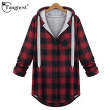 TANGNEST Women Winter Jacket Red And Grey Plaid 2016 Autumn Winter Long Sleeve Casual Wide-Waisted Young Ladies Coat WWJ769