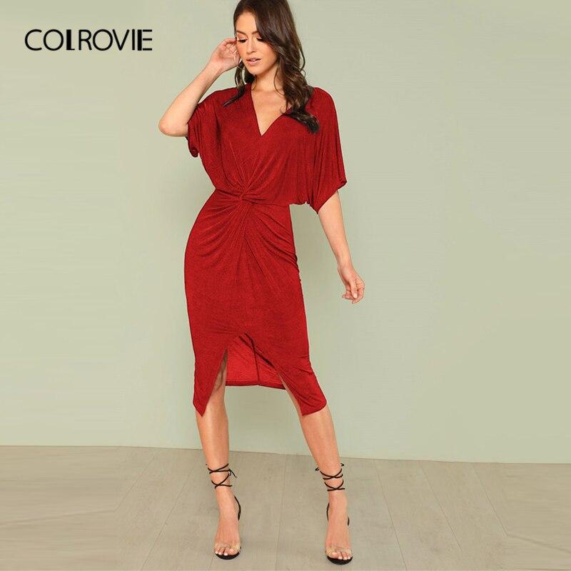 COLROVIE Red V Neck Twist Front Half Sleeve Split Sexy Bodycon Dress Autumn Black Elegant Midi Party Dress Women Dresses