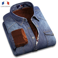 Langmeng 100% Dos Homens do Algodão de Manga Longa Denim Camisa Além de Veludo Camisa Casual Vestido de Inverno Quente Grossa Calça Jeans Camisas camisa masculina